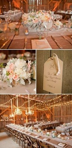 Elegant barn reception with cafe lights and soft pastel flowers by mandy