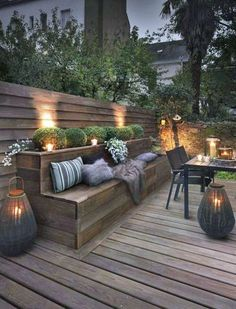 Outdoor lighting ideas for backyard, patios, garage. Diy outdoor lighting for front of house, backyard garden lighting for a party Backyard Lighting, Backyard Design, Garden Seating, Outdoor Rooms, Patio Spaces, Modern Patio, Exterior Design, Outdoor Design