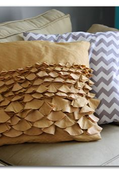 DIY bustle pillow sham - in a fun fall orange for halloween and or fall decor