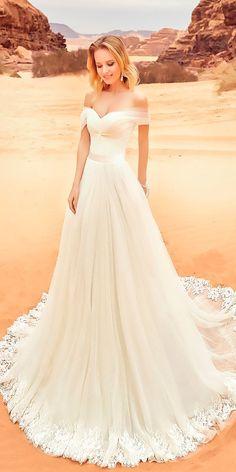 Oksana Mukha Wedding Dresses 2018 ❤️ oksana mukha wedding dresses 2018 sweetheart a line off the shoulder lace ❤️ See more: http://www.weddingforward.com/oksana-mukha-wedding-dresses-2018/ #weddingforward #wedding #bride