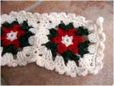 Two weeks ago I posted about several projects I was working on - remember the poinsettia scarf with huge squares? After trying several di. Crochet Christmas Wreath, Christmas Afghan, Christmas Crochet Patterns, Holiday Crochet, Christmas Knitting, Christmas Squares, Christmas Tables, Granny Square Crochet Pattern, Afghan Crochet Patterns