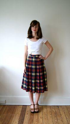 50's Skirt. Preppy Plaid Skirt. High Waist by NewOldFashionVintage, $34.00