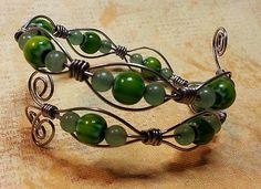 Green Glass Wire Wrapped Bracelet
