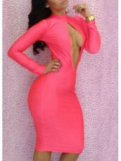 Stacked Rose Long Sleeve Cutout Front Bodycon Dress