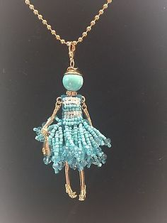 Details about Charming French Crystal Doll Pendant Tassel Charm Statement Necklace - DIY Jewelry Vintage Ideen Wire Jewelry, Jewelry Crafts, Beaded Jewelry, Jewelery, Handmade Jewelry, Jewelry Necklaces, Chain Bracelets, Jewelry Ideas, Gemstone Jewelry