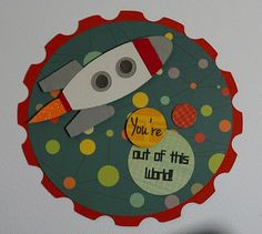 Cricut card. Tags: Space, rocket, outer space, world.