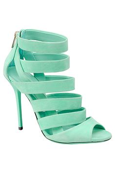 Jimmy Choo - Shoes - 2014 Spring-Summer Looks great with a tan! Women's Shoes, Cute Shoes, Me Too Shoes, Shoe Boots, Nike Outfits, Mint Heels, Mint Sandals, Blue Heels, Strappy Heels