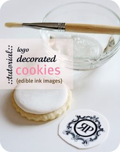 Logo decorated cookies using edible ink images from Sweetopia. Logo Cookies, Iced Cookies, Cut Out Cookies, Cookie Desserts, Cupcake Cookies, Sugar Cookies, Cookie Recipes, Cookie Tips, Cookie Tutorials