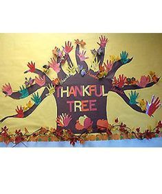 Bulletin Board for November: a hand a day with thankfulness.  Lots of variations…