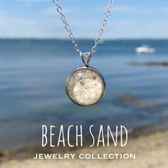 163855822 Beach Sand Small Round Necklace handmade by Beachdashery Round Pendant,  Sterling Silver Chains, Handmade