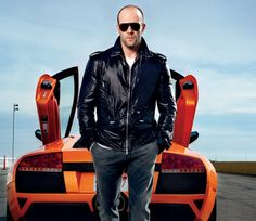 cool guy Statham and car. color makes it pop