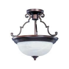 Bring illuminating detail to your home decor with this remarkable 2-light semi-flush mount. Crafted with iron and finished in a rich chrome with a marble shade, this fixture will easily become a focal point in any room.