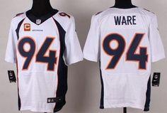 Denver Broncos #94 DeMarcus Ware White Road C Patch NFL Nike Elite Men's Jersey