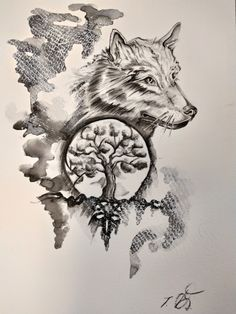 Tattoo design Wolf+tree of Life Wolf Tattoos, Life Tattoos, Tree Tattoo Designs, Tattoo Ideas, Wolf Spirit Animal, Art Pages, Tree Of Life, Adult Coloring, Watercolor Paintings