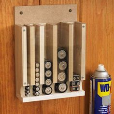 DIY Projects Your Garage Needs -Drop Down Battery Dispenser DIY - Do It Yourself Garage Makeover Ideas Include Storage, Organization, Shelves, and Project Plans for Cool New Garage Decor Garage Organization, Garage Storage, Organization Ideas, Diy Garage, Tool Storage, Garage Plans, Storage Systems, Workshop Organization, Lumber Storage