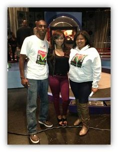 Jessica Brown with Jamaal Rose on the set of BET's 106 & Park