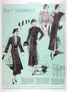 1934 Butterick Fashions Suit Patterns Original Vintage Ad