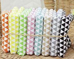 Mini Triangles Cotton Fabric - Orange, Yellow, Green, Indi Pink, Sky Blue, Beige, Grey or Black - 38837 - 163