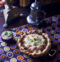 Canelyne Beef pie with cranberries -- a medieval pie with an almond sauce -- scrumptious hot or cold