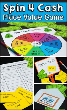Your kids won't want to stop playing Spin 4 Cash Place Value Review! Perfect for math centers and cooperative learning teams! Includes B&W and color versions of the game materials. $