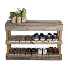 Muebles con palet del Hutson Designs Reclaimed Barnwood Natural Shoe Rack Bench - The Home D Pallet Decor, Diy Furniture, Pallet Shoe Rack, Shoe Rack Bench, Wood Shoe Rack, Pallet Diy, Rack Design, Reclaimed Barn Wood, Diy Shoe Rack
