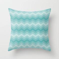 Aqua Chevron Throw Pillow by Zen and Chic - $20.00