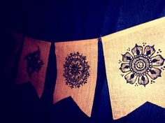 Set of 5, Henna Mehndi Small Mandalas Burlap Jute Prayer Flags Pennants Bunting with Sequins  www.facebook.com/behennaed www.cafepress.com/behennaed  tags: Home & Living  Home Décor  Wall Décor  Wall Hangings  henna  mehndi  mandala  gold  burlap  jute  India  Morocco wedding  kitchen  bedroom  tribal  yoga