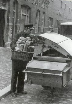 """And here is the baker bringing fresh baked bread.and rolls and """"krenten-brood"""" (raisin bread) to our door. Great service for sure.don't have this anymore today. Vintage Pictures, Old Pictures, Old Photos, Rotterdam, Utrecht, Holland, Man 2, The Old Days, Eindhoven"""