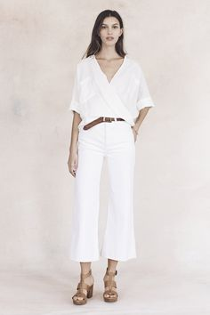 madewell's spring 2016 collection: white short sleeve blouse, woven belt, white wide leg cropped pants + leather heeled sandals
