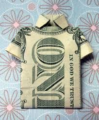 Fold a Money Origami Shirt with my easy step-by-step instructions http://1dollarbillorigami.blogspot.com/2012/08/origami.html