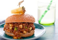 Hawaiian Sloppy Joes (pineapple, lentil and mushroom filling)