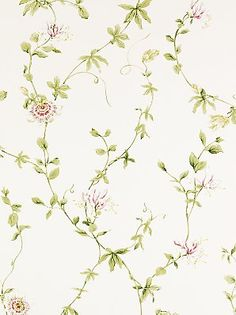 The wallpaper Passion Flower - from Sanderson is wallpaper with the dimensions m x m. The wallpaper Passion Flower - belongs to th Old Wallpaper, Kitchen Wallpaper, Print Wallpaper, Flower Wallpaper, Line Art Flowers, Flower Art, Paisley, Red Walls, Tejidos