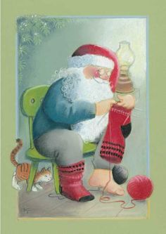 """From the """"Moonlighting"""" series of Christmas cards -- by Kaarina Toivanen, Finnish Father Christmas, Christmas Music, Christmas Crafts, Knitting Humor, Knitting Socks, Art Du Fil, Creation Photo, Images Vintage, Knit Art"""