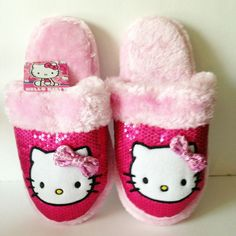 Hello Kitty Ladies Slippers House Shoes Scuffs Pink Sequins LARGE 9-10 #HelloKitty
