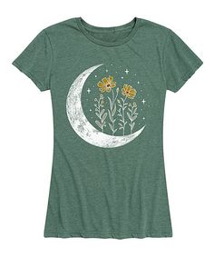 Instant Message Womens Heather Juniper Floral Moon Relaxed-Fit Tee - Women & Plus | Zulily