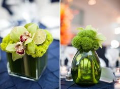 bright green centerpieces | Bright + Modern Art Museum Wedding in Milwaukee | Images by Heather Cook Elliot Photography