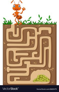 Help ant to find way to food grains in an underground maze Cutting Activities For Kids, Summer Preschool Activities, Insect Activities, Mazes For Kids, Preschool Math, Preschool Worksheets, Science Activities, Teaching Kids, Ant Art