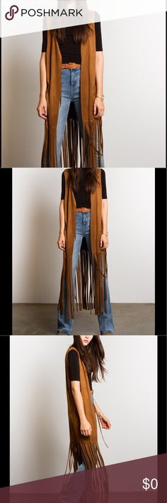 Boho Ethnic Tribal Laser Cut Fringe Cover Up A great staple for any closet that has a love for the bohemian look. This camel colored long Fringed vest is ready to make your outfit complete! It can be worn with jeans, shorts, or a dress! Love it! And available in a variety of sizes🤗 Vegan Boho Chic Vest, Cover Up. Fun fashionable Sleeveless jacket that can be worn year around. Made out of 95% polyester 5% Spandex. 080120171675561 Jackets & Coats Vests