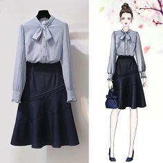 Women Spring Autumn Office Casual Skirts Set Sweet 2 Piece Bowknot Blouses Shirts And Denim Skirt Set Fashion Drawing Dresses, Fashion Illustration Dresses, Fashion Dresses, Modest Fashion, Look Fashion, Korean Fashion, Womens Fashion, Pretty Outfits, Cute Outfits