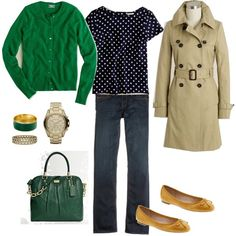 J. Crew Silk Polka Dot Tee in navy, green cardigan, skinny jeans, and classic trench coat