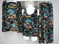 Chico's Travelers Crop Pant Jacket Tank Set Sz 3 XL Misses Village Slinky Knit