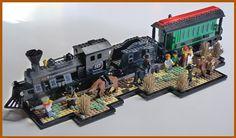 (via Train Robbery) Cowboy Town, Lego Trains, Lego Construction, Lego Castle, Lego Worlds, Everything Is Awesome, Lego Stuff, Le Far West, Cool Lego