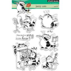 JAZZY CATS - by Penny Black  Clear Stamps - New in pkg. SIX STAMPs in the Set !!  Ships Now ! by BarbsCraftSupplies on Etsy