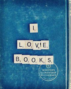 I Love Books, Vol. 2 5x7 Fine Art Print--Vintage Book Scrabble Tile Geek Photography Apartment Home Decor