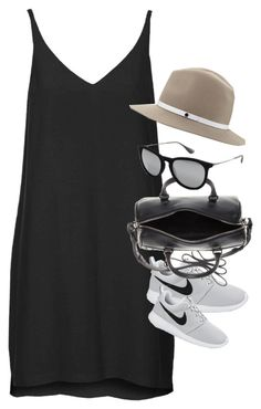 """Inspired outfit for a casual day in summer"" by pagesbyhayley ❤ liked on Polyvore featuring Topshop, NIKE, Yves Saint Laurent, Ray-Ban and rag & bone"