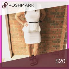 👗❤️Belted Contemporary Peplum Dress❤️👗 👗❤️ BELTED CONTEMPORARY PEPLUM 👗❤️ Classy and Chic!!! Size: Small - White Forever 21 Dresses