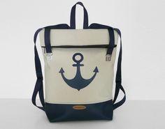 Leinen-Rucksack mit Anker, maritim // linen backpack with anchor by zwischenPol via DaWanda.com
