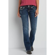 maurices Vigoss Bootcut Jeans With Back Flap Pockets In Dark Wash,... ($74) ❤ liked on Polyvore featuring jeans, maurices jeans, dark rinse jeans, back flap pocket jeans, blue jeans and boot-cut jeans