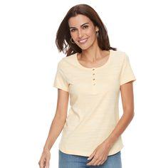 Women's Croft & Barrow® Henley Tee, Size: Medium, Gold