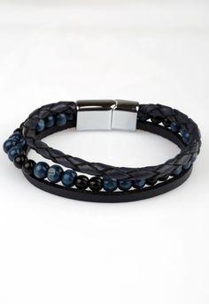 Lacivert Deri Doğaltaş Çelik Erkek Bileklik BLK1239 - Men Bracelet